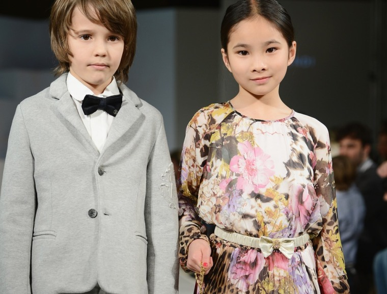 Models wearing Roberto Cavalli walk the runway at the Global Kids Fashion Week in London earlier this week.