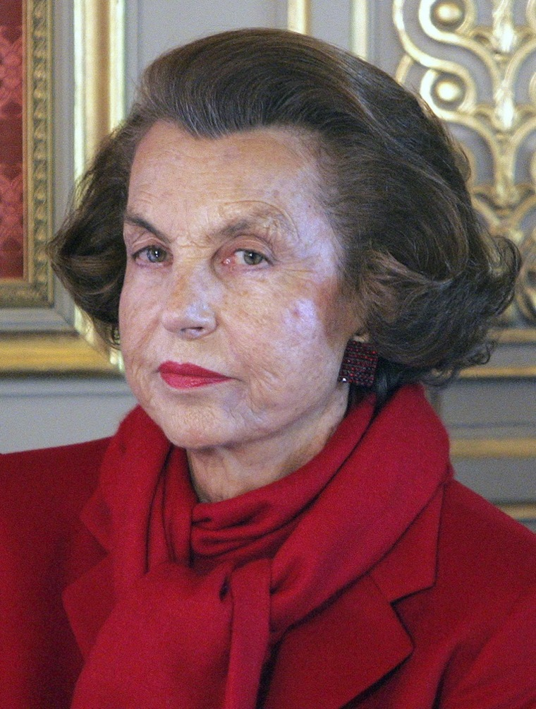 Liliane Bettencourt pictured at the Elysee Palace on April 18, 2005.