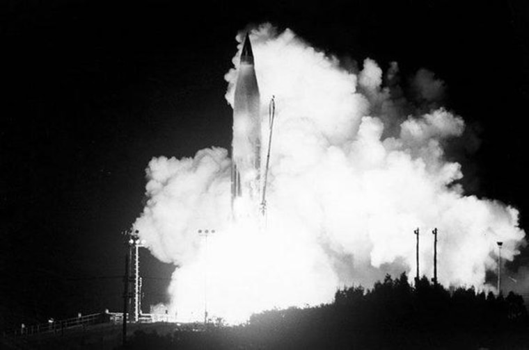 The launch of the Project SCORE mission on an Atlas-B rocket on Dec. 18, 1958.
