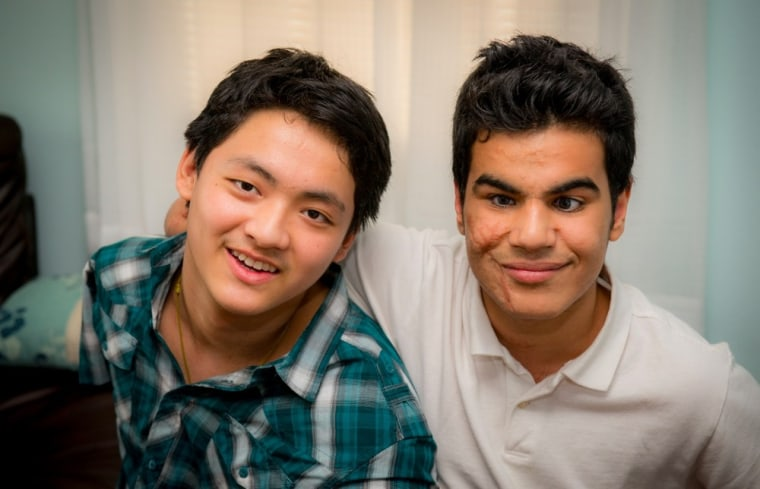 Ahmed Sharif, right, with his best friend Ngawang Tsestin, left, in New York recently.