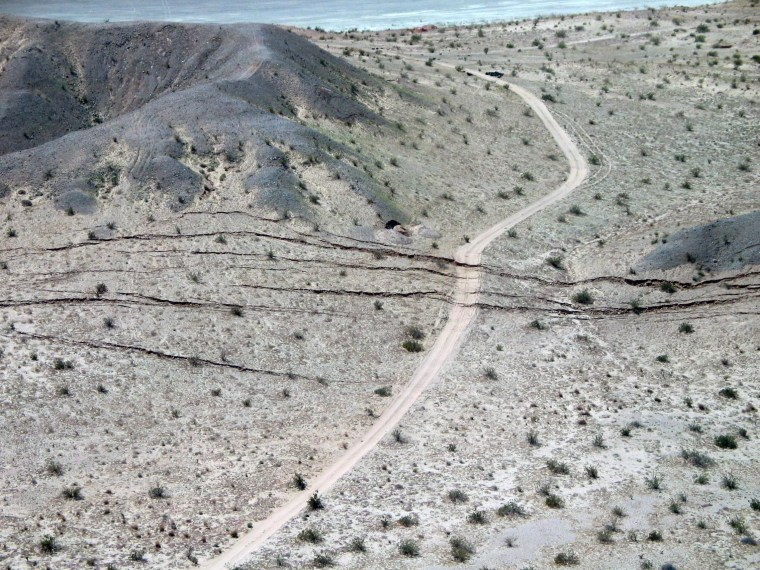 Ruptures along the trace of the magnitude-7.2 earthquake in Baja California, Mexico in 2010. The earthquake ruptured along a plate boundary, and is one of several which shows signs of foreshocks caused by slow movement prior to the earthquake, a new study finds.