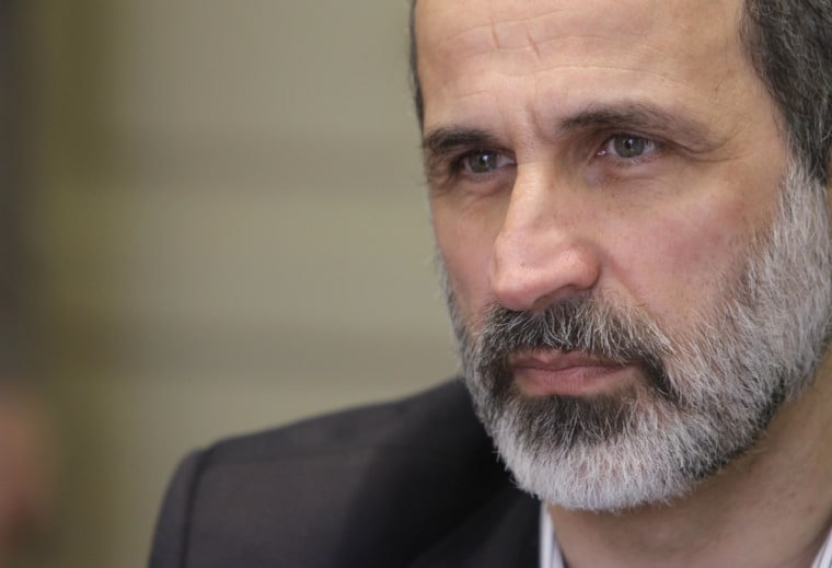 The head of the Syrian National Coalition for Opposition and Revolutionary Forces Mouaz al-Khatib resigned Sunday.