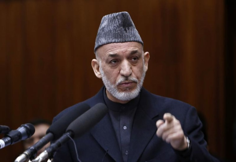 Afghanistan's President Hamid Karzai speaks during the opening ceremony of the third year of the Afghanistan parliament in Kabul March 6, 2013.