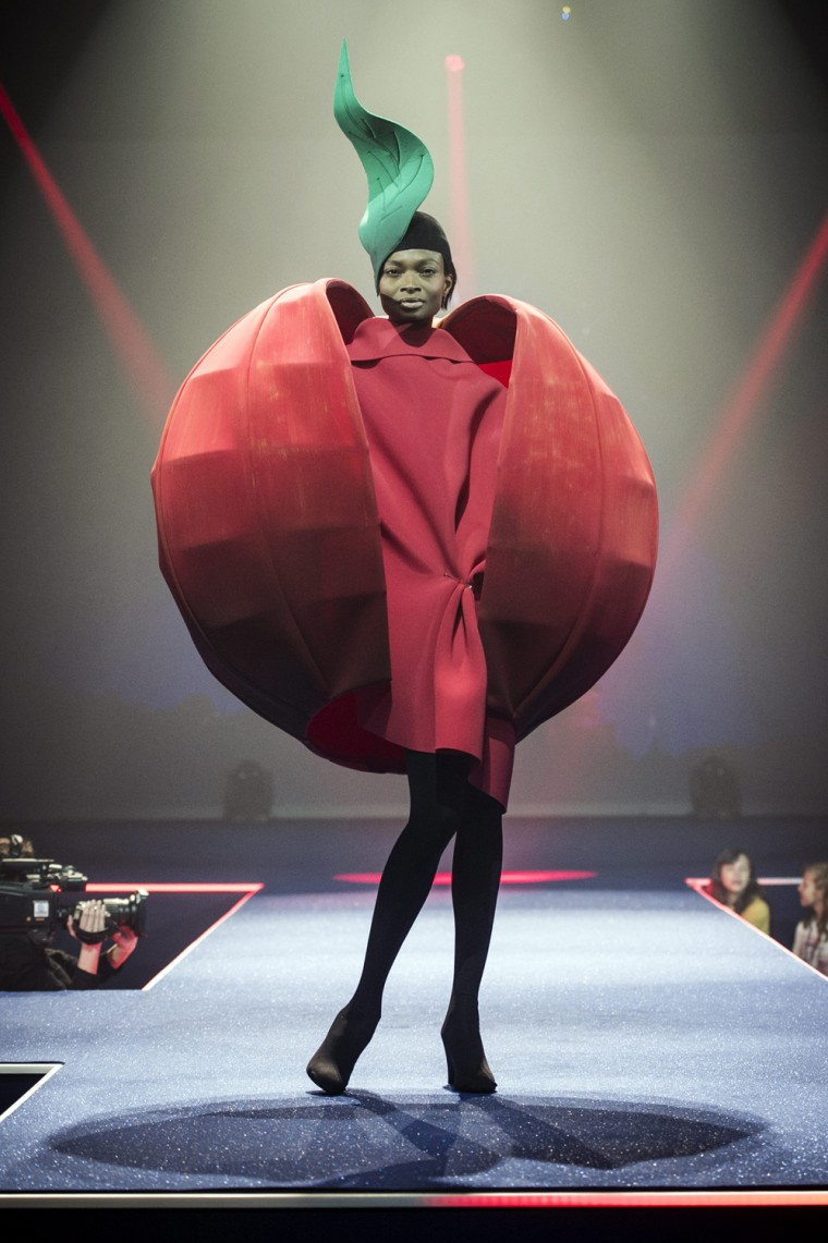 A model displays a creation by Belgian fashion designer Jean Paul Knott during fashion show presenting the creations of various designers in relation ...