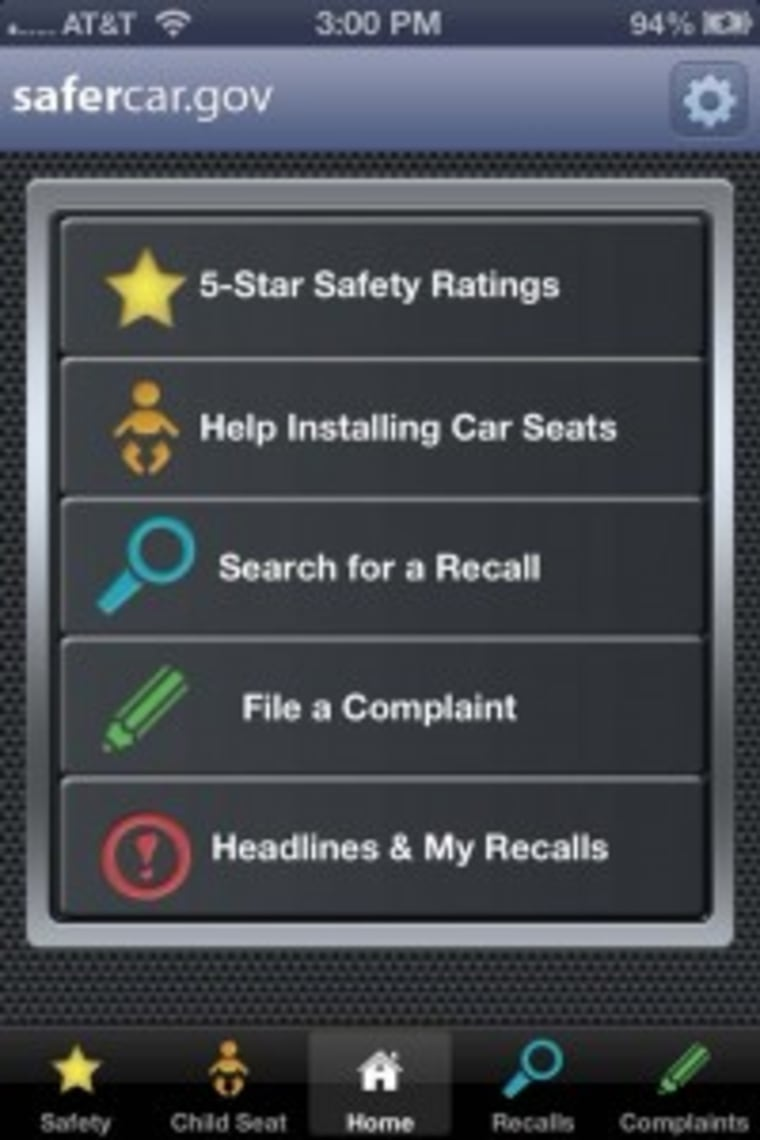 NHTSA launches its SaferCar app.