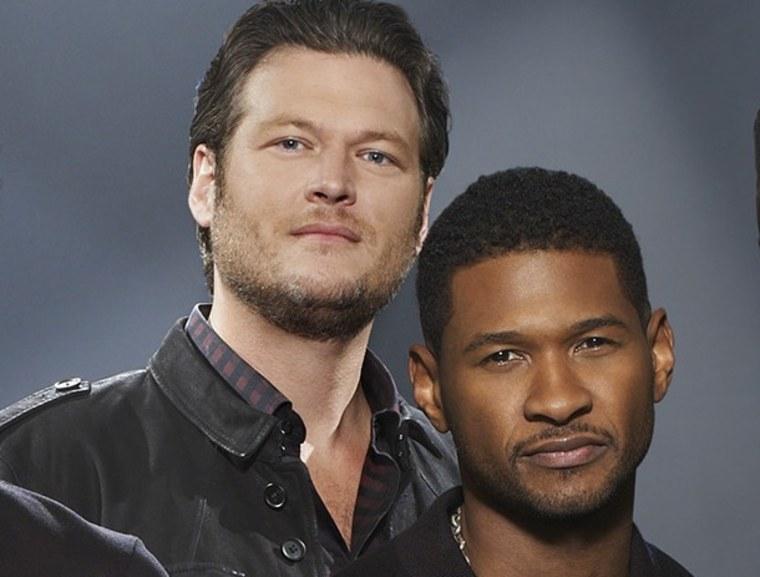 """Blake Shelton and new """"Voice"""" coach Usher."""
