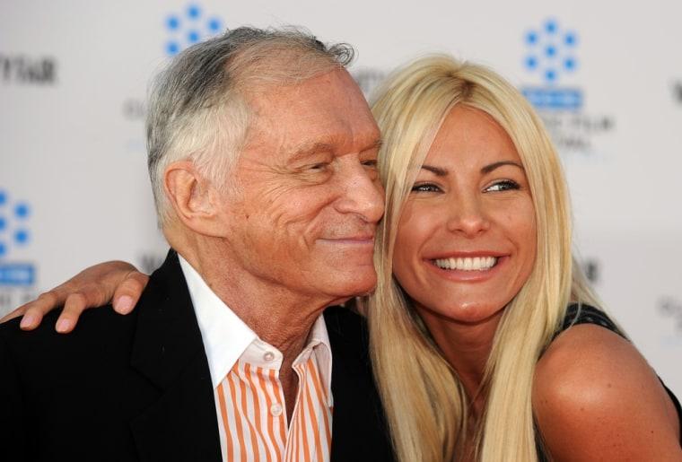 Playboy magazine founder Hugh Hefner and Crystal Harris, his new wife.
