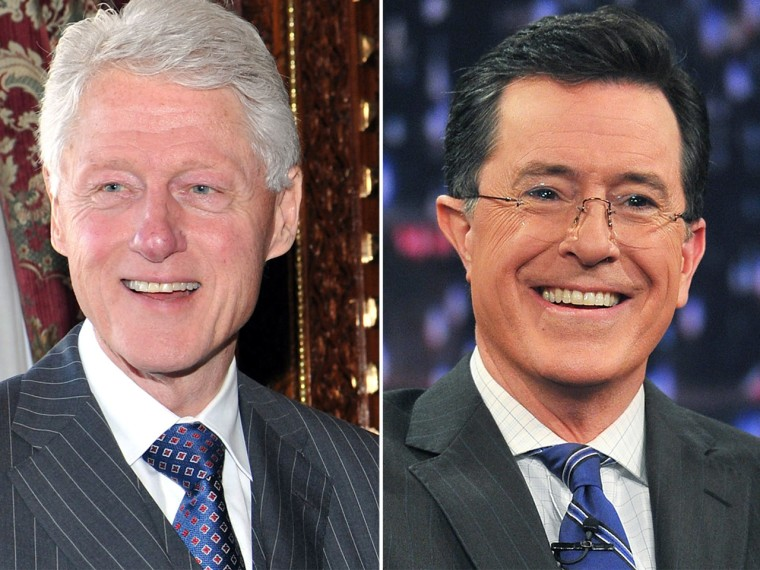 Bill Clinton and Stephen Colbert.