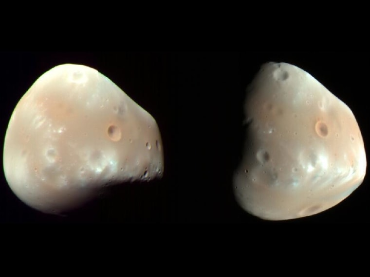 These color-enhanced views of Deimos, the smaller of the two moons of Mars, were taken on Feb. 21, 2009, by the High Resolution Imaging Science Experiment (HiRISE) camera on NASA's Mars Reconnaissance Orbiter. Deimos is about 7.5 miles in diameter. Deimos has a smooth surface due to a blanket of fragmental rock or regolith, except for the most recent impact craters. It is a dark, reddish object, very similar to Mars' other moon, Phobos.