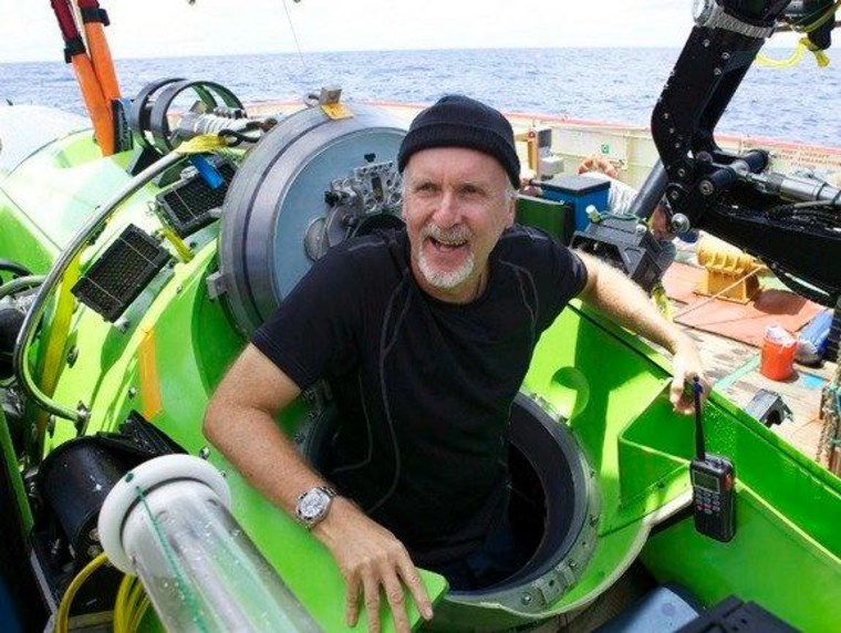 Filmmaker and National Geographic explorer-in-residence James Cameron emerges from the Deepsea Challenger submersible after his successful solo dive to the Mariana Trench, the deepest part of the ocean.