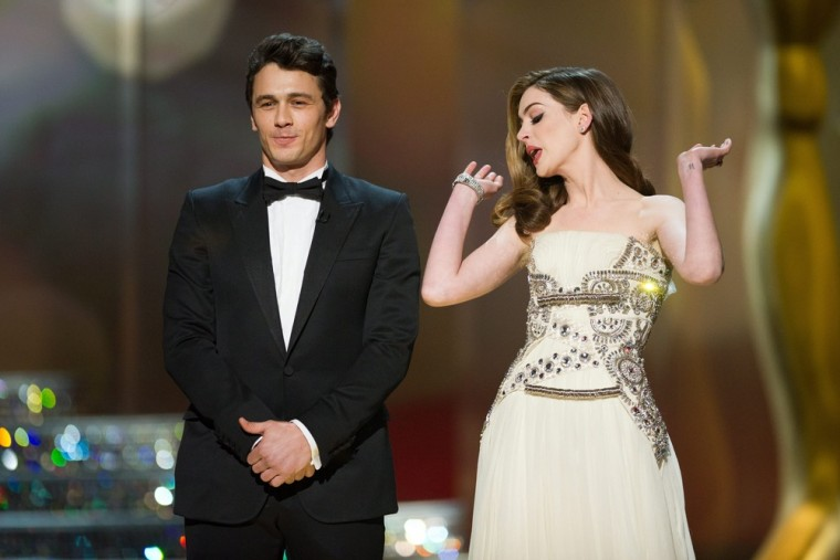James Franco and Anne Hathaway hosting the 83rd annual Academy Awards in Hollywood, on Feb. 27, 2011.