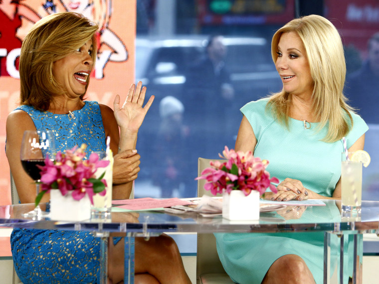 """TODAY -- Pictured: (l-r) Hoda Kotb and Kathie Lee Gifford appear on NBC News' """"Today"""" show -- (Photo by: Peter Kramer/NBC/NBC NewsWire)"""