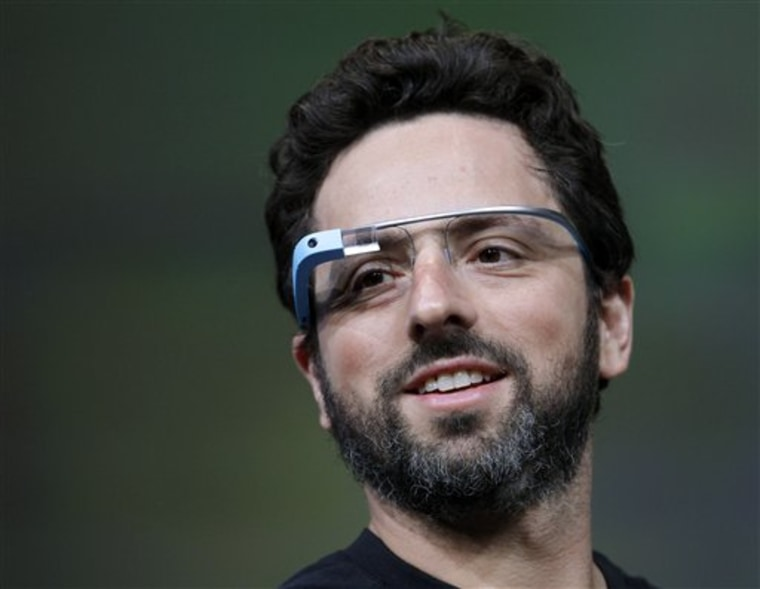 FILE - This June 27, 2012 file photo shows Google co-founder Sergey Brin demonstrating Google's new Glass, wearable internet glasses, at the Google I/...