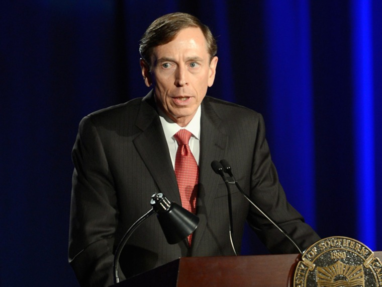 Former CIA director and retired four-star general General David Petraeus makes his first public speech since resigning as CIA director at University of Southern California dinner for students Veterans and ROTC students on March 26.