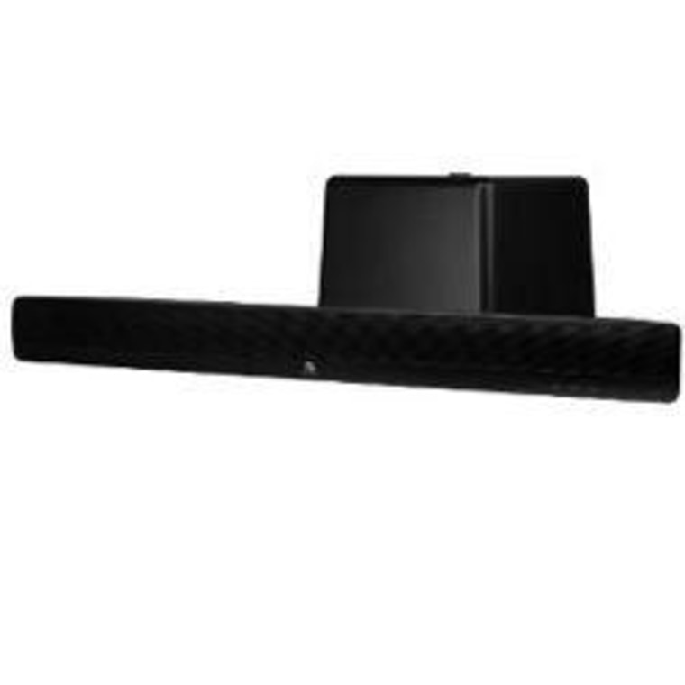 A sound bar (shown here with a subwoofer) is a popular alternative to a full set of speakers.