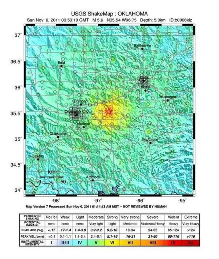 This map shows the shaking intensity from the magnitude 5.6 earthquake that hit Oklahoma on Nov. 6, 2011.