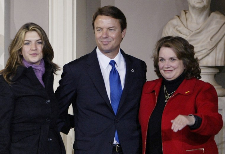 Cate Edwards (left) with her father, John Edwards, and mother, the late Elizabeth Edwards, in November 2004.