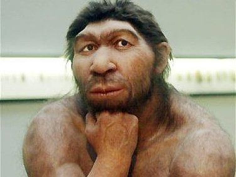 Neanderthals like the one depicted in this museum reconstruction died out tens of thousands of years ago.