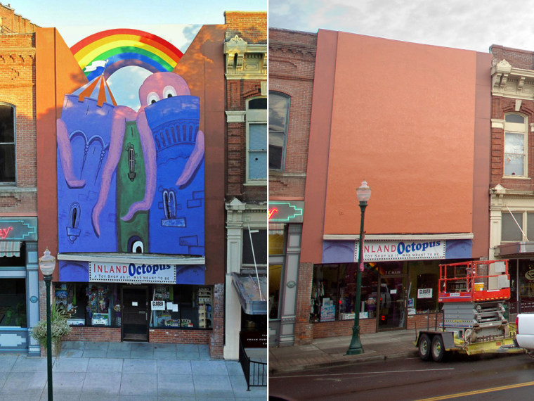 An octopus mural was painted on the front of the Inland Octopus story, left, but authorities had it painted over, right, on March 28 in the city of Walla Walla, Wash.