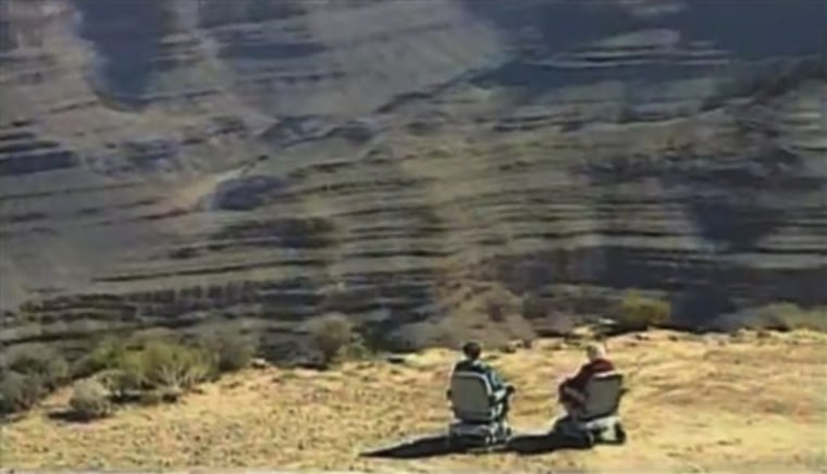 A scene from a Hoveround commercial