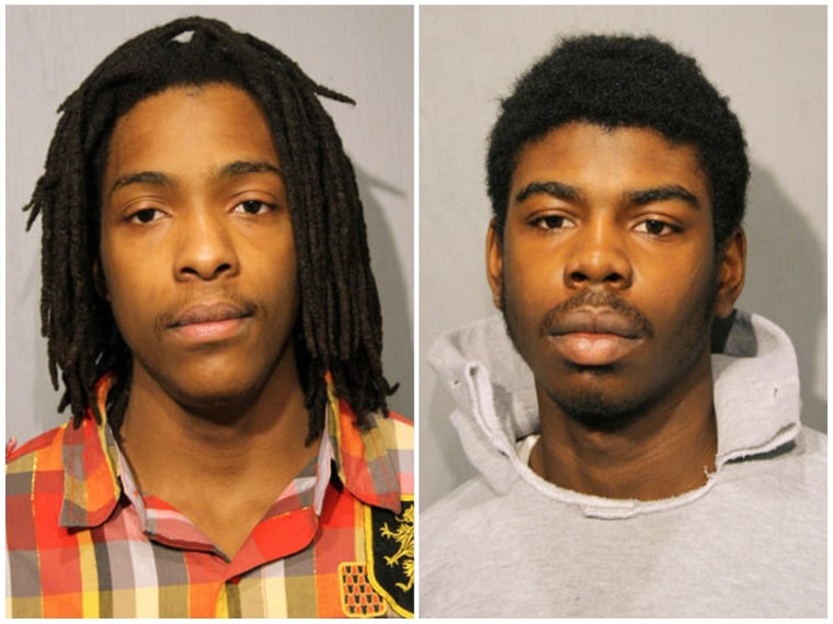 Micheal Ward and Kenneth Williams in a combination image of booking photos from the Chicago Police Department.