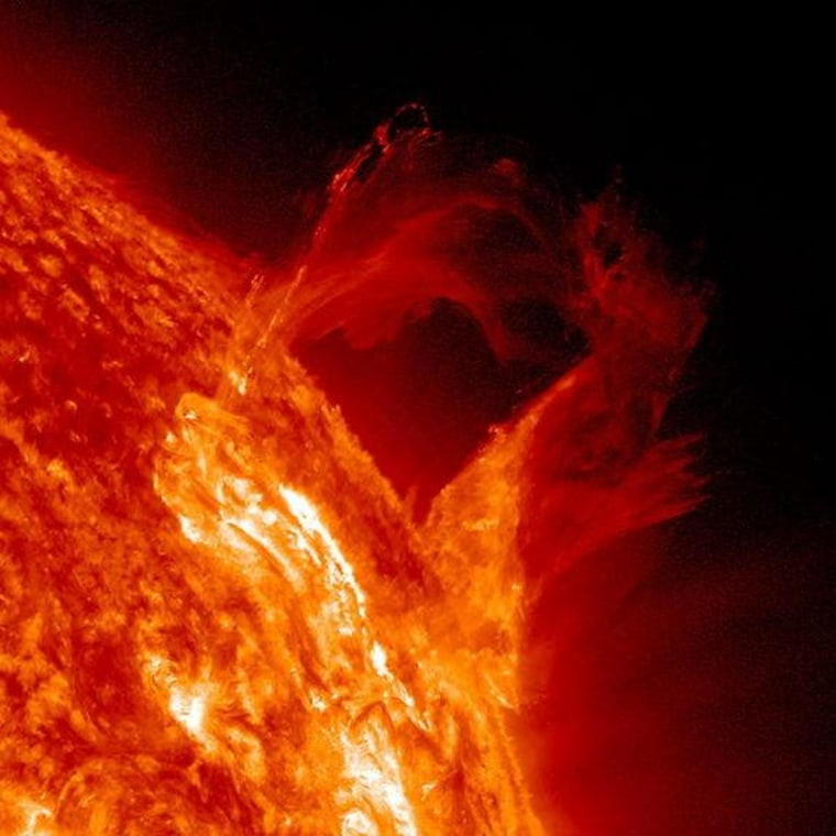 A solar prominence began to bow out and the broke apart in a graceful, floating style in a little less than four hours on March 16.