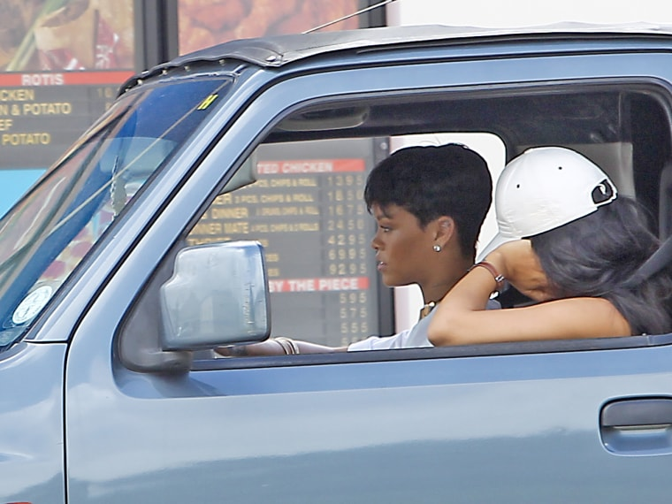 Rihanna hits the drive thru at a fast food joint in her native Barbados.