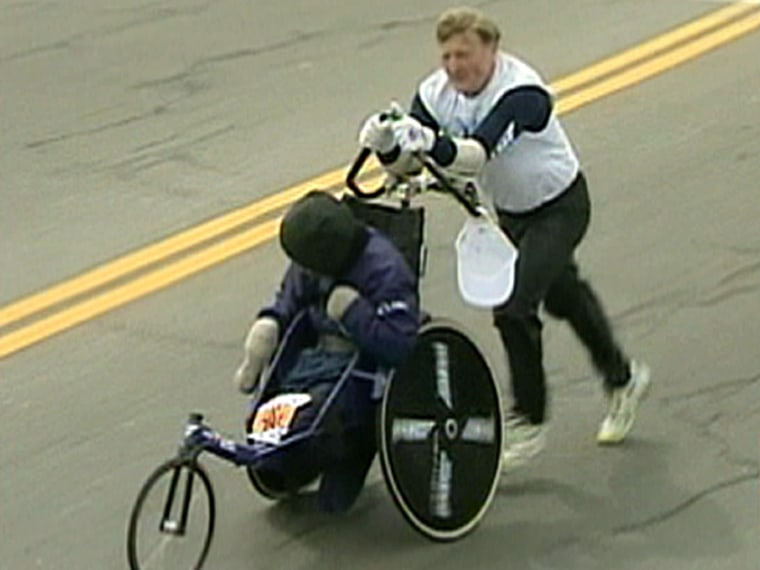 Dick and Rick Hoyt, a dedicated father-and-son team, have raced together in 1,091 athletic events since the early 1980s.