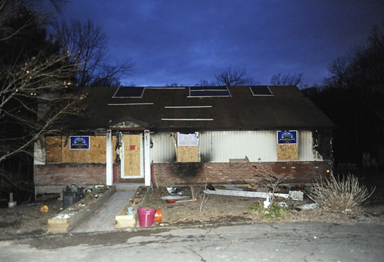 A house belonging to the Barth family in Newtown, Conn., is seen on March 28, the day after it was destroyed by fire.