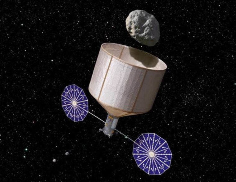 An artist's illustration of an asteroid retrieval spacecraft capturing a 500-ton, 7-meter-wide asteroid.