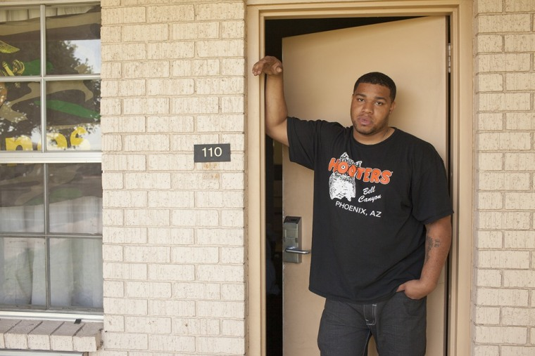 ""\""""I had seen some stuff that I probably would have never seen before in life had I not been in Marine Corps, some good stuff and some stuff I just don't care to think about anymore,"""" said Iraq War veteran Eric Swinney, seen here outside his room at Grand Veterans Village in Phoenix.""760|507|?|en|2|0369bde988b7b80ddc7cf89ebf7b7a61|False|UNLIKELY|0.3162994682788849