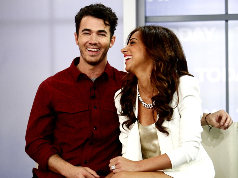 """TODAY -- Pictured: (l-r) Kevin Jonas and Dani Jonas appear on NBC News' """"Today"""" show -- (Photo by: Peter Kramer/NBC/NBC NewsWire)"""