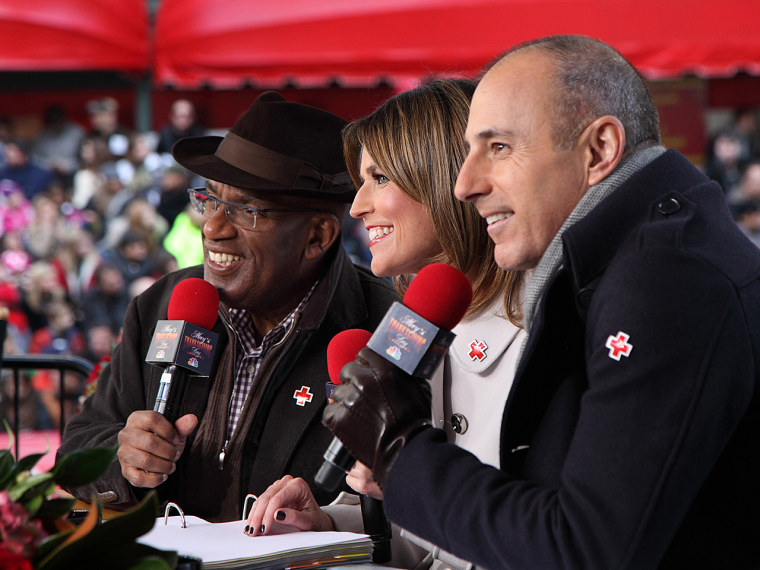 Image: Matt Lauer, Al Roker and Savannah Guthrie hosting the 86th annual Macy's Thanksgiving Day parade
