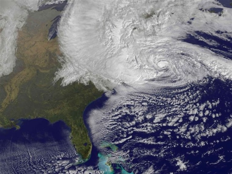 This file NOAA's GOES-13 weather satellite image shows the storm system associated with Superstorm Sandy covering the northeastern United States before landfall.