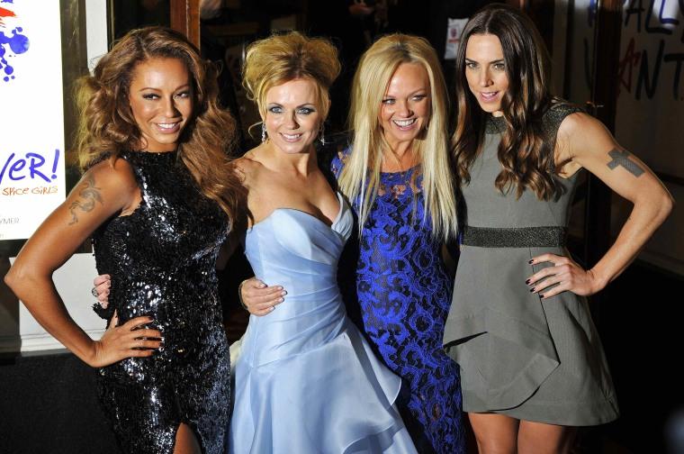Spice Girl members Melanie Brown (L-R), Geri Halliwell, Emma Bunton and Melanie Chisholm.