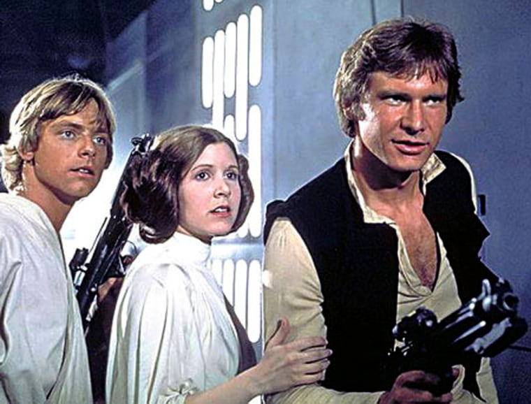 "Luke Skywalker (Mark Hamill), Princess Leia (Carrie Fisher) and Han Solo (Harrison Ford) in ""Star Wars."""