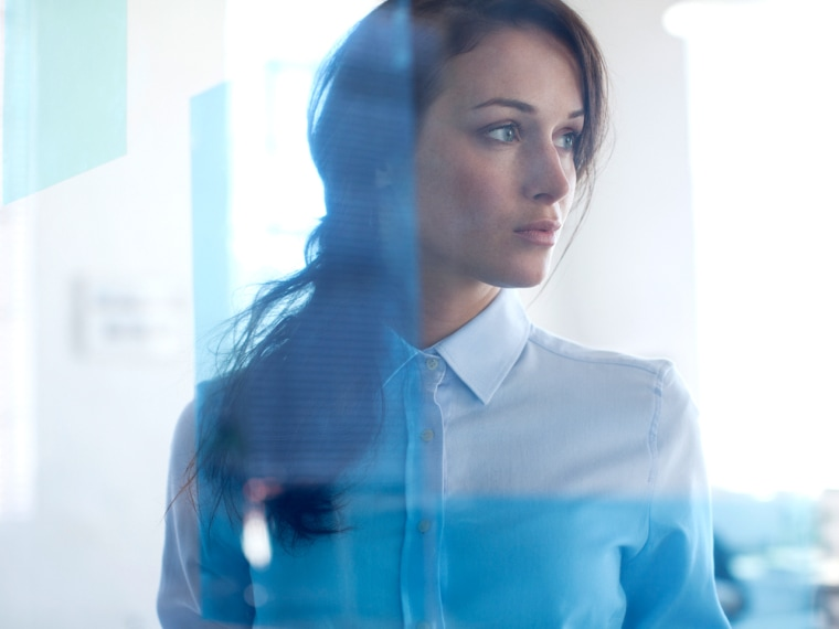 Pensive, businesswoman, office, window, woman, work, look, think