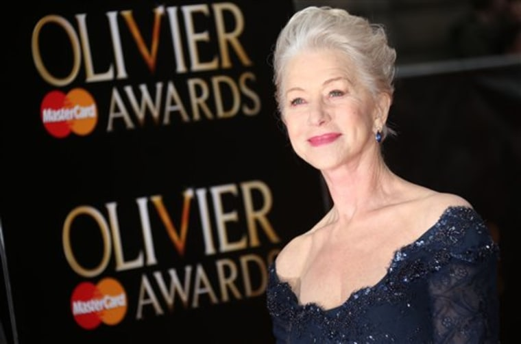 Helen Mirren poses on arrival at the Olivier Awards 2013.