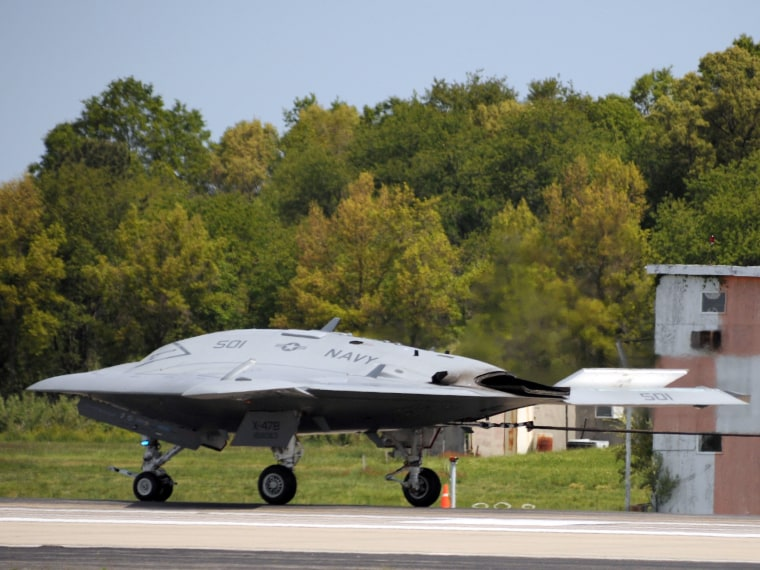 Navy's X-47B drone makes first carrier-style landing
