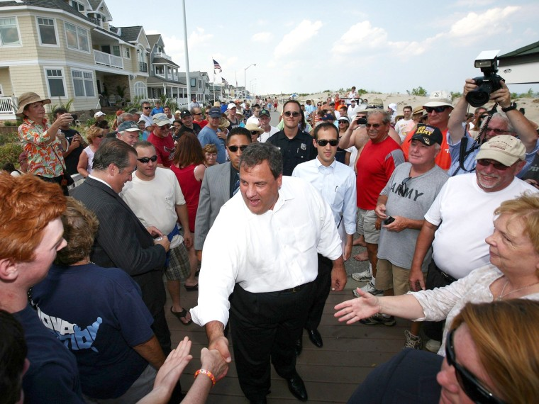 Gov. Chris Christie visits the Jersey Shore in 2012.