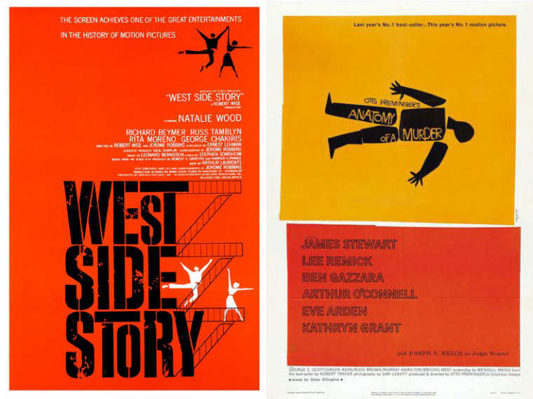 """Saul Bass promotional posters for \""""West Side Story\"""" and \""""Anatomy of a Murder\"""""""
