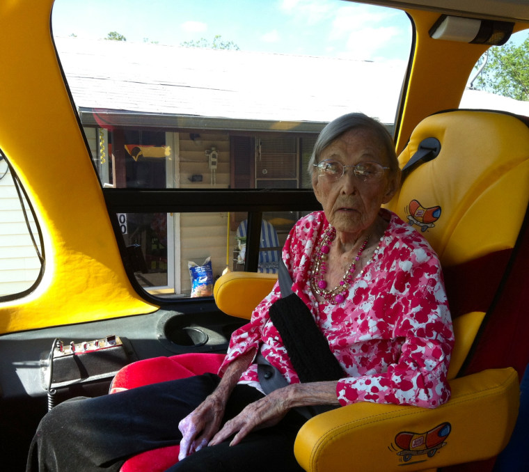 Image: Pearl Cantrell in the Wienermobile