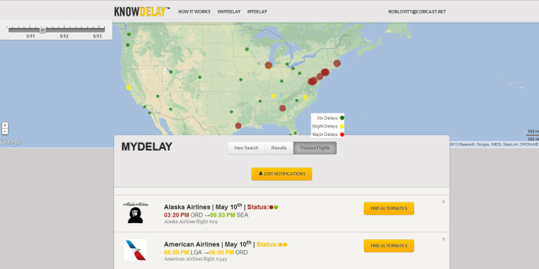 KnowDelay.com predicts flight problems 3 days in advance