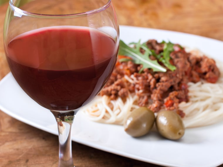 Red wine and pasta.