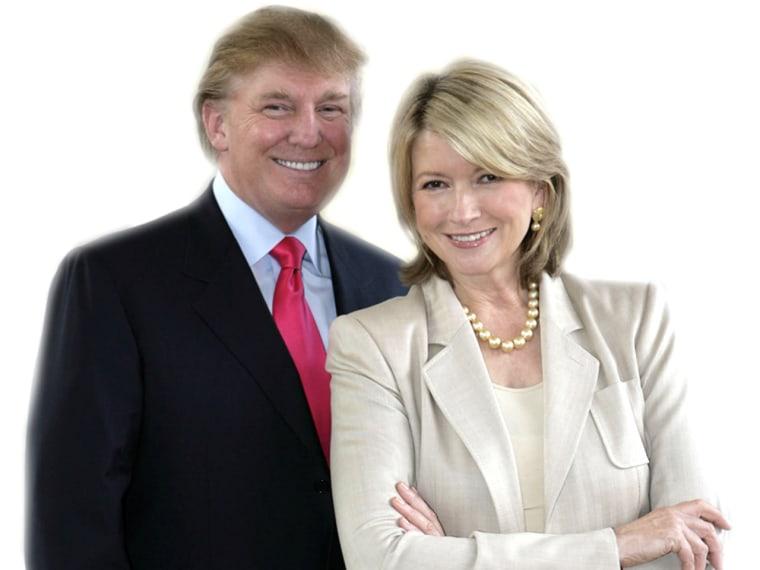 "THE APPRENTICE: MARTHA STEWART -- NBC Alternative Series -- ""Promo Shoot"" -- Pictured: (l-r) Donald Trump, Martha Stewart -- NBC Universal Photo: Virg..."
