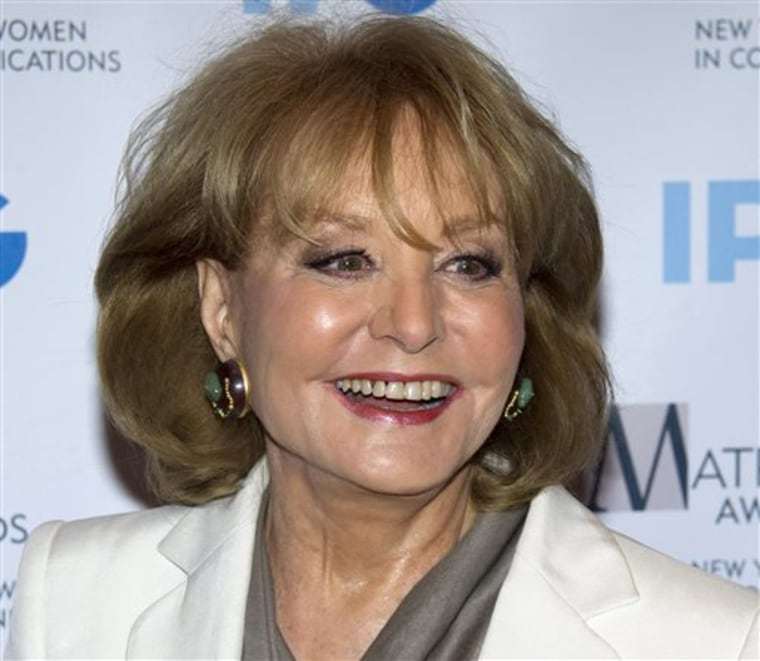 FILE - In this April 23, 2012 file photo, veteran ABC newswoman Barbara Walters arrives to the Matrix Awards in New York. The veteran ABC News anchor ...