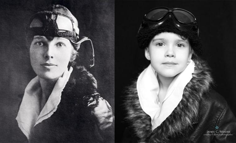 Emma poses as Amelia Earhart.