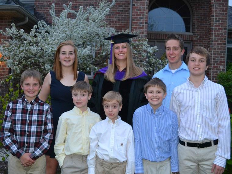 Jennifer Wood's kids: Back row:  Abbi (15), Jennifer, Noah (16); Front row:  Nathan (11), Tripp (11), Tate (7), Wheeler (9), Nicholas (13)