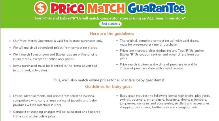 Price match guarantees aren't so simple and include a list of caveats, as seen here in the Toys R Us price-matching guarantee policy.