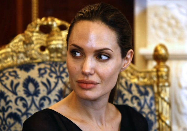 (FILES)US actress and UNHCR special envoy Angelina Jolie meets with Nechirvan Barzani, prime minister of Iraqi Kurdistan regional government, in the n...